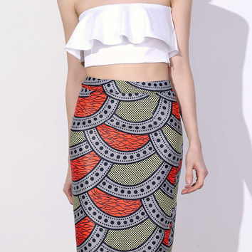 High-Waisted Printed Bodycon Skirt