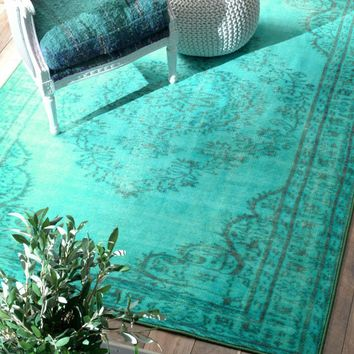 NuLOOM Machine Made Vintage Inspired Overdyed Rug Rug Turquoise