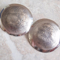 Reticulated Silver Earrings 800 14K Posts Large Round Disks Pierced Vintage V0684