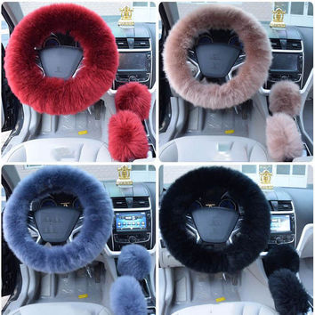3 peice fur steering wheel cover