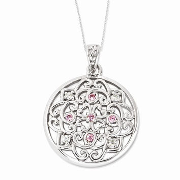 Sterling Silver CZ Love Binds Us Together Necklace
