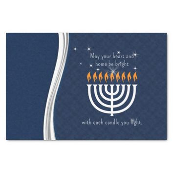 """Hanukkah Blue and White with Each Candle Light 10"""" X 15"""" Tissue Paper"""