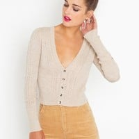 Cropped Cable Knit Cardi in  Clothes at Nasty Gal