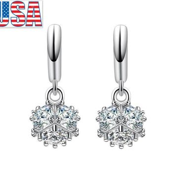 Fashion Jewelry 925 Silver Plated Drop Dangle Magic Cube Hoop Earrings For lady