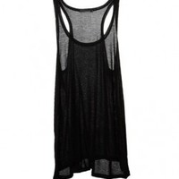 Knit Round Neckline Tanks in Black