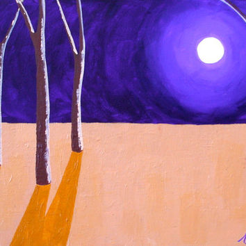 Fantasy Landscape Painting, Trees in the Moonlight, Small Format Art, Abstract Landscape Painting