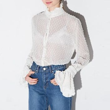 Womens Summer Sexy Lace Hollow Out Sheer Flare Sleeve Buttons Blouses Shirts Casual Solid Femme Girl