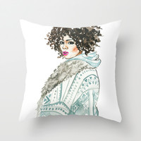 Black beauty , watercolor fashion illustration , portrait  Throw Pillow by Koma Art