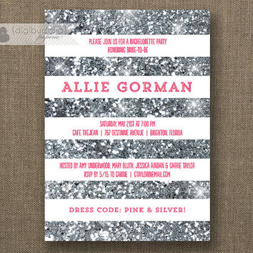 Pink & Silver Glitter Bachelorette Party Invitation White Stripes Lingerie Fuchsia Pink Gray Modern Printable DIY Digital or Printed - Allie