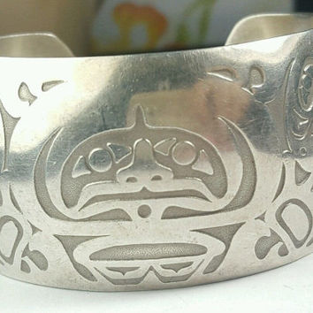 "Native American Alaskan Tlingit Aleasa James Carved Sterling Silver Cuff Bracelet Retired Piece ""Fog Woman"" Raven LARGE 89.5 grams RARE"