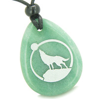 Amulet Protection Howling Wolf Moon Good Luck Green Quartz Pendant Necklace