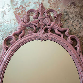 Vintage Syroco Wall Mirror Pink Cherubs Large Ornate Oval Nursery Shabby Chic