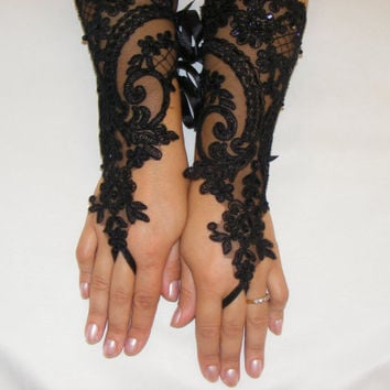 Black Beaded Lace Handmade Long Fingerless Wedding Gloves With Satin Ribbon