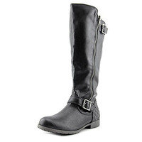 Material Girl Larisa Wide Calf Women Round Toe Synthetic Black Knee High Boot