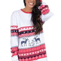 Lauren James Christmas Sweater Tee with Deer- Red/Navy- FINAL SALE