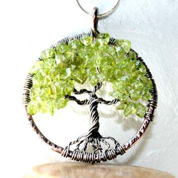 Peridot Tree Of Life Necklace, August Birthstone, Three Gemstones Family Tree,Copper and Sterling Silver Tree Of Life Pendant
