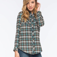 Angie Classic Womens Flannel Shirt Teal Blue  In Sizes