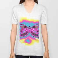 Multicoloured Butterfly Unisex V-Neck by Macsnapshot