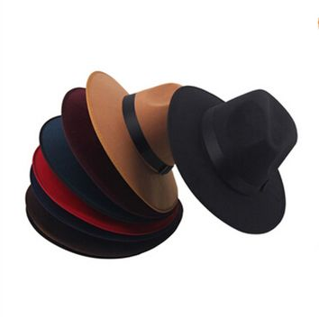 2015 New Fashion Vintage Women Wide Brim Ribbon Warm Wool Blend Felt Hat Bowler Trilby Fedora Cap Cowboy Hat