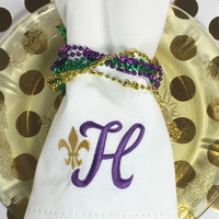 Fleur de Lis Monogrammed Cloth Dinner Napkins - Set of 4 napkins
