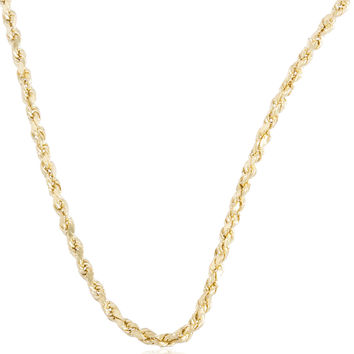 10K Yellow Gold 2mm - 5.5mm D-Cut Rope Chain Necklace 16-30inch