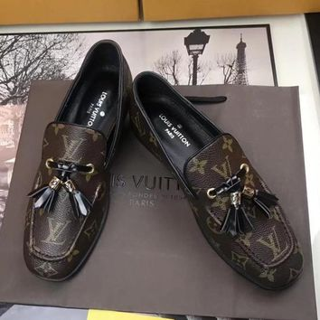 LV LOUIS VUITTON Women Fashion Moccasin-Gommino Shoes