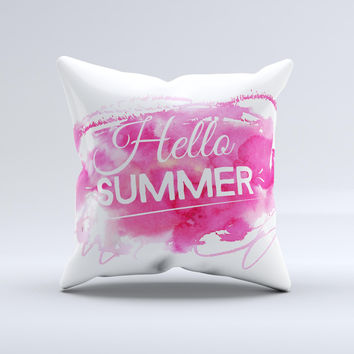 The Vivid Pink Hello Summer ink-Fuzed Decorative Throw Pillow