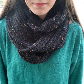Black and Multicolored Crocheted Infinity Scarf