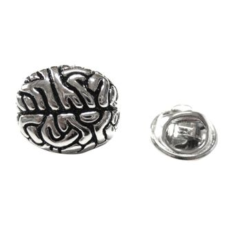 Silver Toned Anatomical Brain Lapel Pin