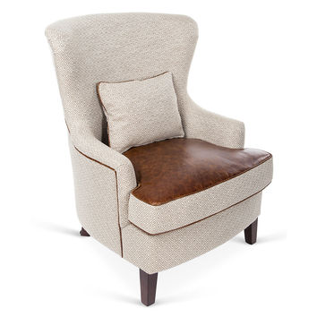 Mayfield Leather Accent Chair, Khaki, Wingbacks