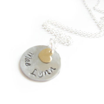 14K Gold Filled Silver Necklace Personalized Heart Hand Stamped Charm Pendant gift for wedding birthday