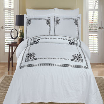 Athena White & Black Embroidered Duvet cover Set