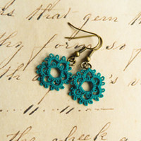 Vintage inspired retro handmade lace earrings rustic Victorian wedding bridesmaid gift prom jewelry - teal