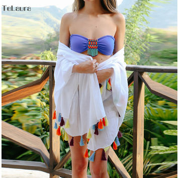 2017 Women Sexy Colored Tassel See-Through Cotton Beach Cover Up SwimwearWhite Summer Bikini Cover Up Swim Beach Dress