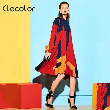 Clocolor Color Block Red Loose  Asymmetrical  casual dress