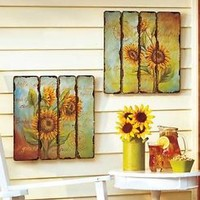 Set Of 2 Printed Pallet Wall Art Hangings Sunflower Theme Home Decor