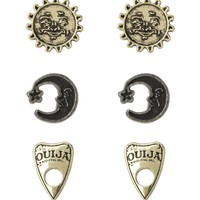 Licensed cool Ouija Board earrings 3 pack set Planchette Sun Moon Post insertion pierced NEW