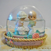 Precious Moments Sew In Love Snow Dome Globe 1991 Sewing Seamstress Crafter Buttons
