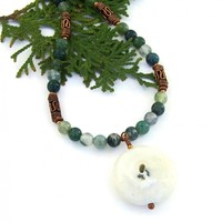 Solar Quartz Stalactite Necklace, Moss Agate Handmade Gemstone Jewelry