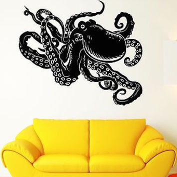 Wall Stickers Octopus Marine Animal Sea Ocean Bathroom Vinyl Decal (ig1965)