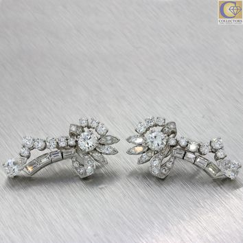 1930 Antique Art Deco Platinum 6.00ctw G VS Diamond Drop Dangle Cluster Earrings