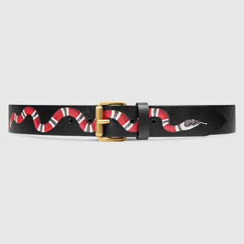 Black Gucci Snake Belt with GOLD GG Buckle
