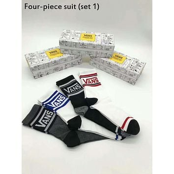 VANS Tide brand men and women models comfortable and breathable wild casual socks four-piece