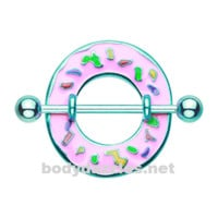 Pair of Pink Frosted Sprinkled Donut Nipple Shield Ring 14ga
