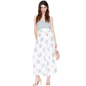 Casual Floral Printed Maxi Skirt