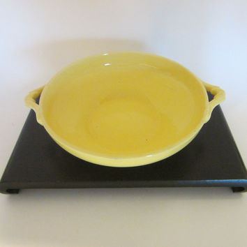 Yellow Ceramic Candy Bowl With Handles