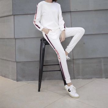 Gucci Round Neck  Stretch Long Sleeve  Casual Women  Simple Fashion Two-Piece Suit Clothes