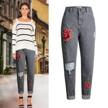 Women's embroidered rose high-waisted jeans worn baggy jeans trousers