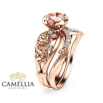Special reserved - Unique Morganite Engagement Ring Set 14K Rose Gold - last payment