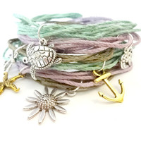 Natural Hemp Stackable Charm Bracelet, Pick Your Color
